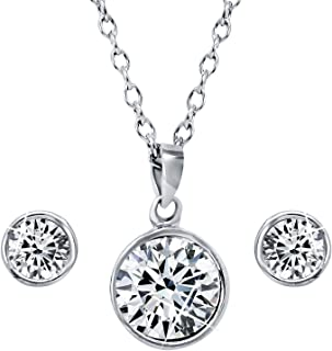 Mahi with Swarovski Crystal Rhodium Plated Solitaire Pendant Set for Women NL1104136R