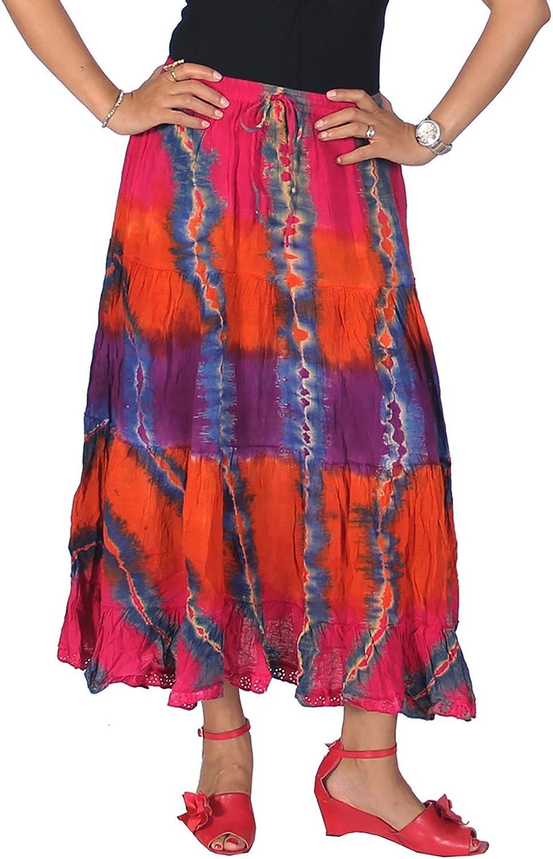 KayJayStyles Women's Hippie Boho Gypsy Tie-dye Long Skirt