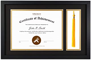 Golden State Art, Diploma Tassel Shadow Box 11x17.5 Wood Frame for 8.5x11 Document/Certificate, with Double Mat (Black Over Gold), Tassel Holder & Real Glass, Black