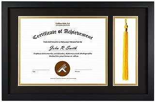 Golden State Art, Diploma Tassel Shadow Box 11x17.5 Frame for 8.5x11 Document/Certificate, with Double Mat (Black Over Gold), Tassel Holder & Real Glass, Black