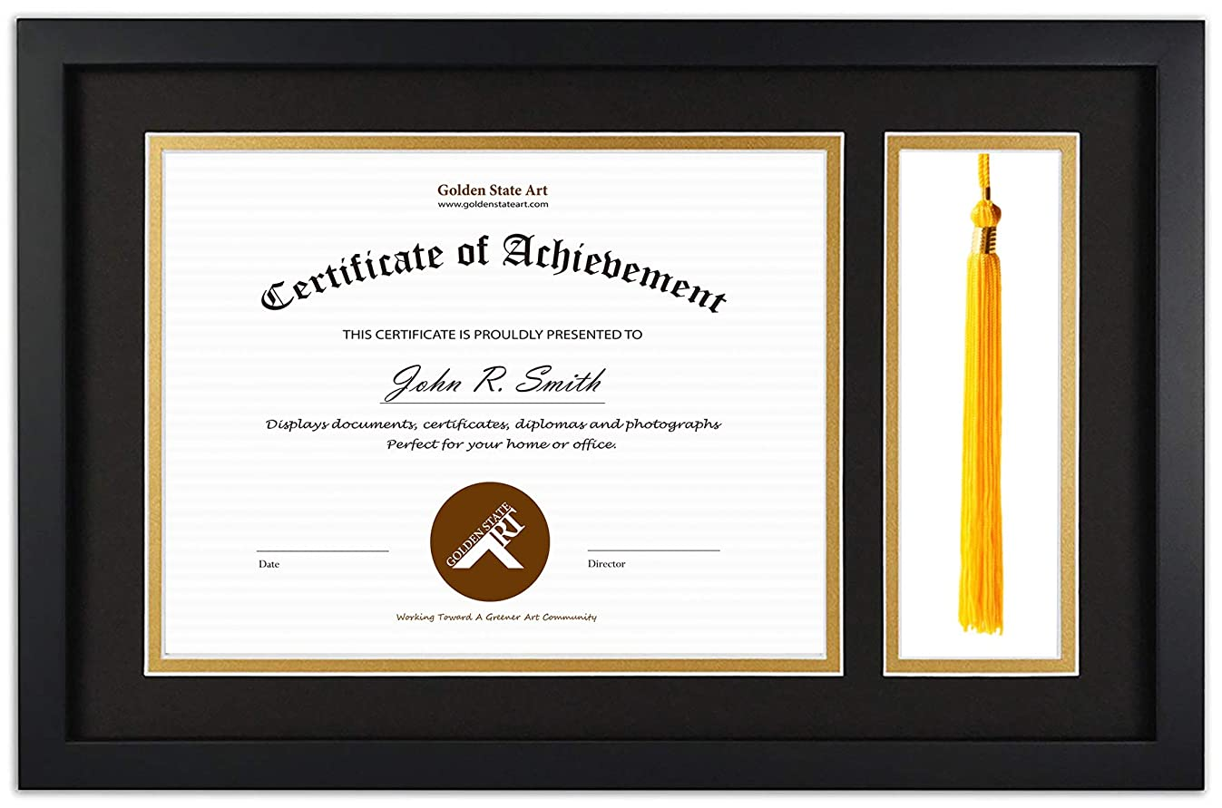 Golden State Art Diploma Tassel Shadow Box 11x17.5 Frame for 8.5x11 Document/Certificate, with Double Mat (Black Over Gold), Tassel Holder & Real Glass, Black
