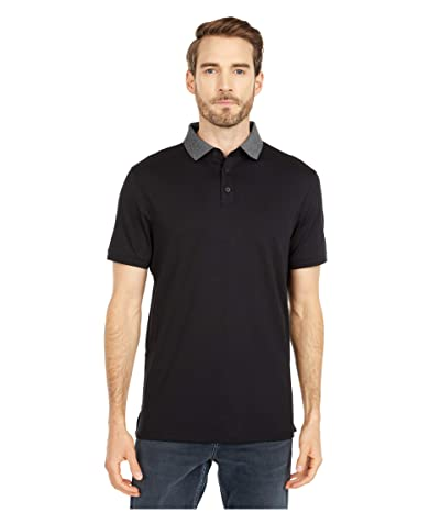 Calvin Klein Short Sleeve Liquid Touch Polo Shirt (Black Combo) Men