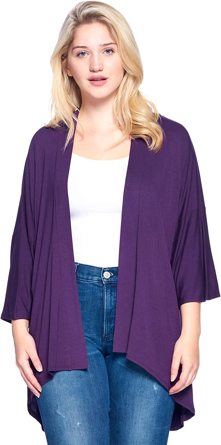 Modern Kiwi Women's Plus Size Solid 3/4 Sleeve Open Front Cardigan (1X-4X) Made in USA