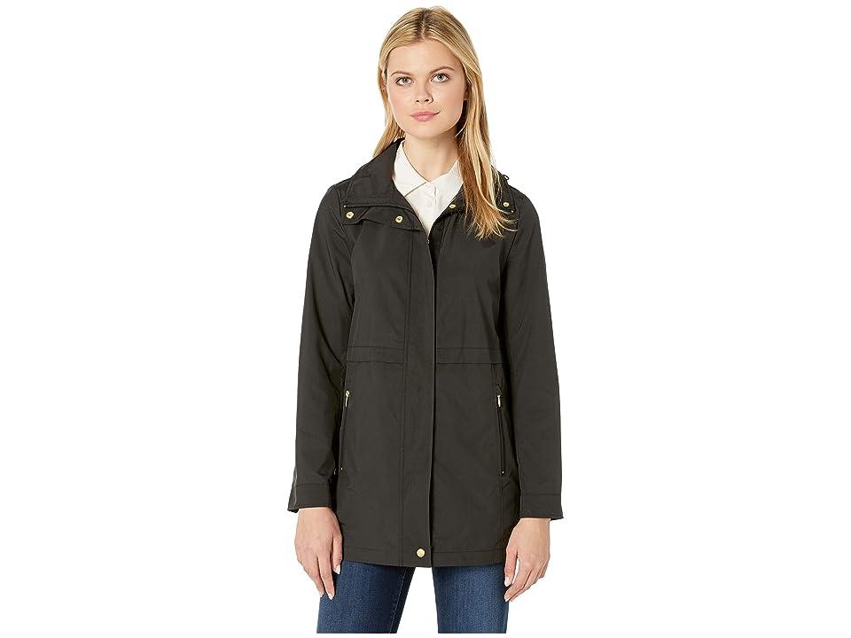 Cole Haan Travel Packable Zip Front Rain Jacket with Detachable Hood (Black) Women