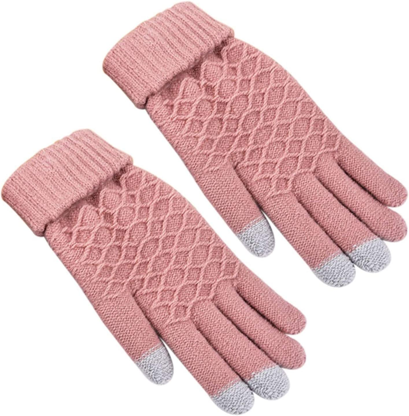 DZHT Touch Screen Sensory Gloves for Women Gloves Girl Female Stretch Knit Gloves Mittens Winter Warm (Color : Pink)