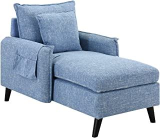 Casa Andrea Milano Kid's Chaise Lounge Indoor Chair Mid Century Linen Fabric, Modern Long Kid Size Lounger Chairs with Arms for Office or Living, Bed Room (Light Blue)