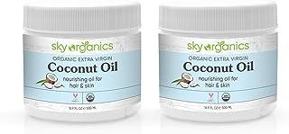 Organic Extra Virgin Coconut Oil by Sky Organics (16.9 oz x 2 Pack) USDA Organic Coconut Oil Cold-Pressed Kosher Cruelty-F...