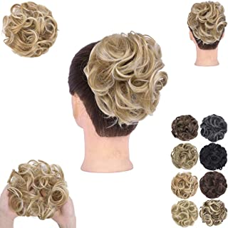 GIRLSHOW Elastic Wave Curly Hair Buns Chignons Hair Scrunchy Extensions Wrap Ponytail Updos Tousled Bun Hairpieces for Wom...