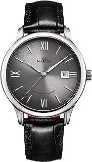 スイス製 マービン 自動巻き メンズ腕時計 読みやすい日付表示 シルバーグレー/ブラック