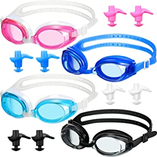 Frienda 4 Pieces Swim Goggles No Leaking Triathlon Swimming Goggles Adjustable Silicone Swim Glasses Set with Ear Plugs for Adult Men Women Youth Kids Child