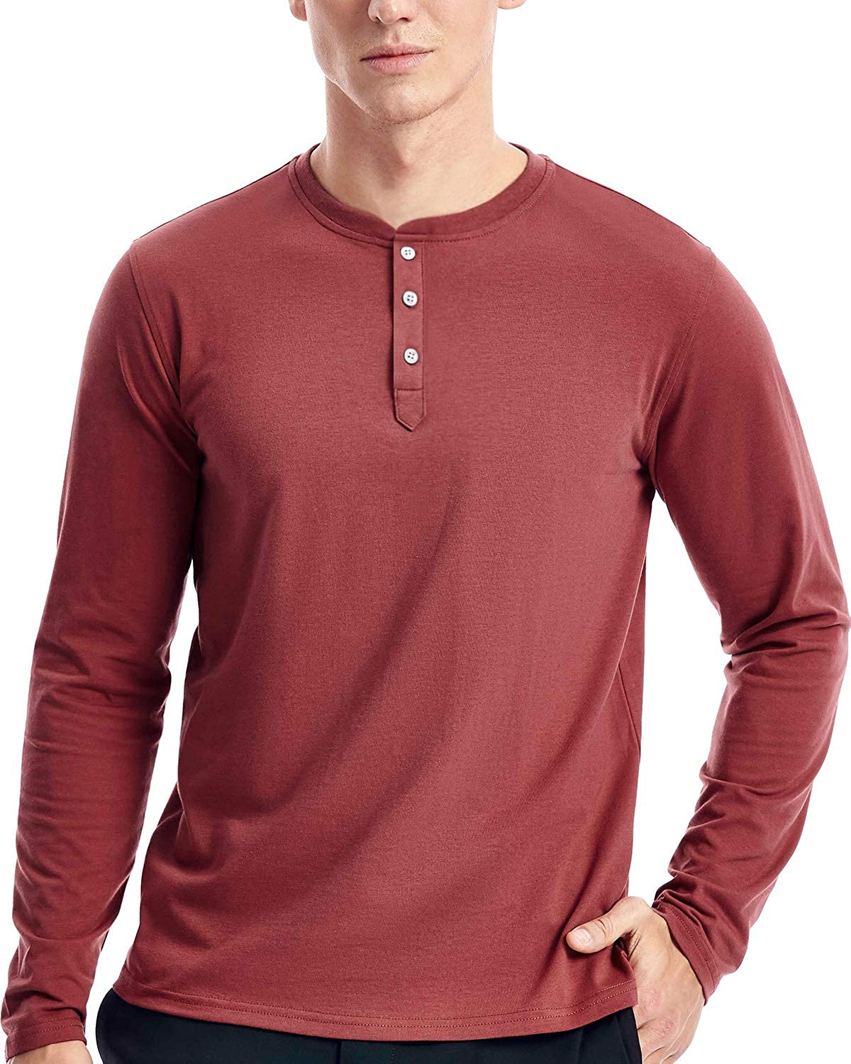 Mens Henley Max 40% OFF Long Popularity T Shirts Sleeve