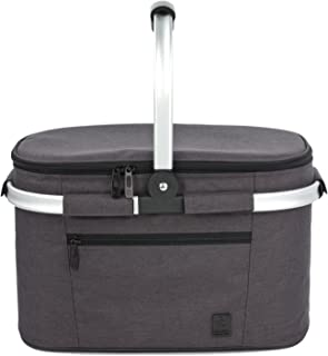 ALLCAMP Large Size Insulated Cooler Bag Collapsible Portable 22L Picnic Basket Cooler with Sewn in Frame (Black)