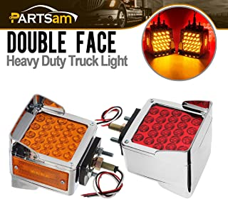 Partsam Pair Truck Trailer 52 LED Red/Amber Square Double Face Pedestal Fender Stop Turn Tail Lights Three Stud Mount Bezel Visor Waterproof Replacement for Volvo Peterbilt Kenworth Freightliner
