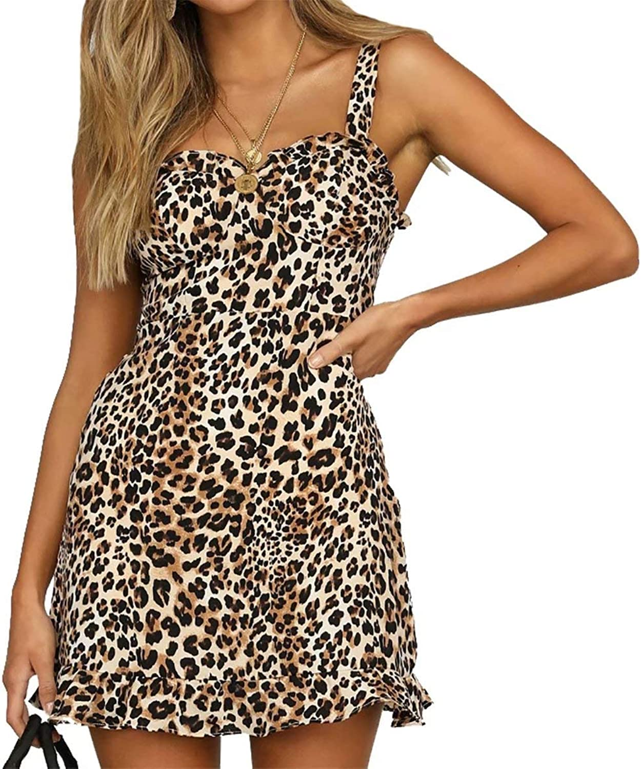 JINTING Women V Neck Spaghetti Strap Sleeveless Leopard Party Club Ruffle Mini Short Dress