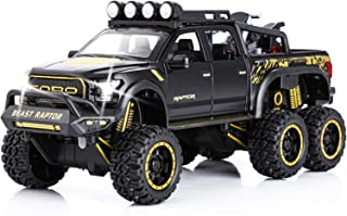 Toy Pickup Trucks for Boys F150 Raptor DieCast Metal Model Car with Sound and Light for Kids Age 3 Year and up Black