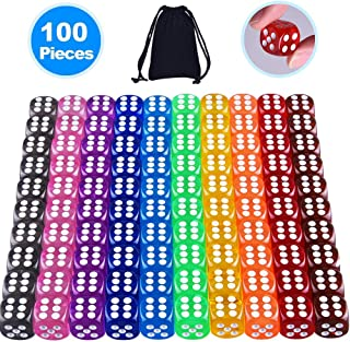 Austor 100 Pieces 6-Sided Dice Set(Free Pouch), 10 Different Colors 16mm Acrylic Dice for Tenzi, Farkle, Yahtzee, Bunco or Teaching Math