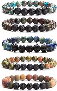 Lava Rock Stone Essential Oil Diffuser Bracelet - Natural Semi Precious Gemstone Beads Healing Crystal Bracelet