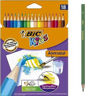 BIC Kids Aquacouleur Crayons de Couleur Aquarellables pour Effet Peinture - Coloris Assortis, Etui Carton de 18