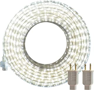 SURNIE LED Rope Lights Outdoor, White 50ft Waterproof Flexible Strip Lights Kit 110V Connectable, Cuttable 6000K Indoor Tape Lighting UL Certified Decorative Location Garden Stairs Balcony Party