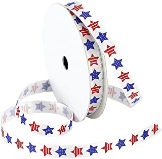 Morex Ribbon Betsy Ross Printed Satin Ribbon Spool, 3/8-Inch by 5-Yard, Red/White/Blue