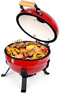 TUSY Ceramic Grill 12 Inch Advanced Portable Foldable Barbecue Grilling Charcoal Oven with Digital Thermometer,Light and Compact for Picnics, Backyard, Party, Camp, Lake Outdoor Cooking