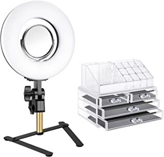 Neewer Tabletop Ring Light Makeup Kit:8-inch Dimmable Mini LED Ring Light with 3.5-inch Mirror,Desktop Support Stand,Cosmetic Storage Display Box for Beauty Blog Make Up Selfie Portrait Video Shooting