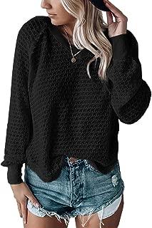 Womens V Neck Sweaters Long Sleeve Waffle Knit Oversized Fall Blouses