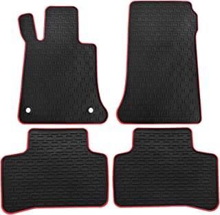 biosp Car Floor Mats for Mercedes-Benz GLK-Class 2010 2011 2012 2013 2014 2015 Front and Rear Seat Heavy Duty Rubber Liner Black Red Edge Vehicle Carpet Custom Fit-All Weather Guard Odorless