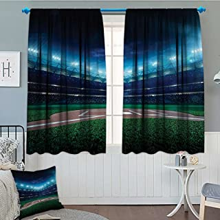 SeptSonne-Home Sports Decor Blackout Window Curtain Professional Baseball Field at Night with Spotlights Playground Stadium League Theme Customized Curtains 52