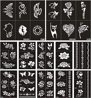 Xmasir Henna Tattoo Schablone Set für Frauen Kinder Glitter