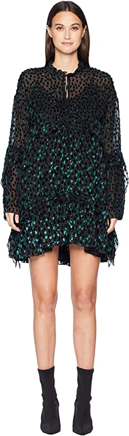 Short Dress with Long Sleeves In Polka Dot Devoré Velvet