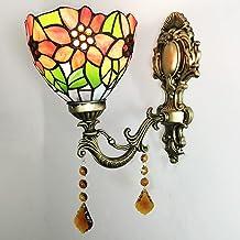 """AIBOTY Słonecznikowa ściana kinkiet 6 """"styl tiffany kolorowe szkło cień oświetlenie ściany vintage lampa ścienna światła o..."""