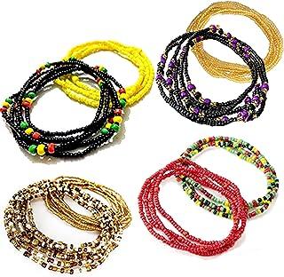 Tuoshei 8 Piece Summer Jewelry Waist Bead Set, Colorful Waist Bead, Belly Bead, African Waist Bead, Body Chain, Beaded Belly Chain, Bikini Jewelry for Woman Girl (style 3)