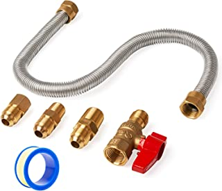 GASPRO One-Stop Universal Gas-Appliance Hook-Up Kit - Brass Gas Ball Valve and Flexible Gas Connector Fittings for Gas logs, unvented Wall Mount heaters, Gas stoves, and Garage heaters