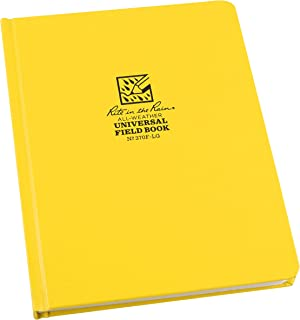 """Rite in the Rain Weatherproof Hard Cover Notebook, 6.75"""" x 8.75"""", Yellow Cover, Universal Pattern (No. 370F-LG)"""
