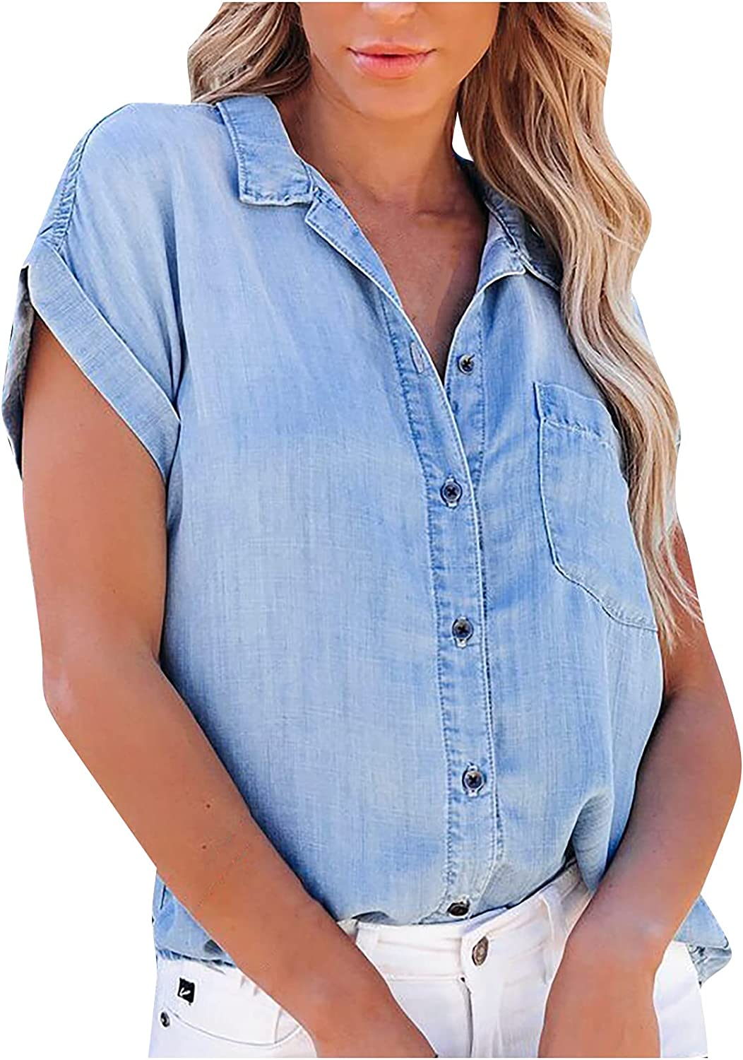 Women's Summer Short Sleeve Denim Shirt Plus Size Loose Button Down Faux Jeans Blouses Lapel V Neck Casual Tops with Pockets