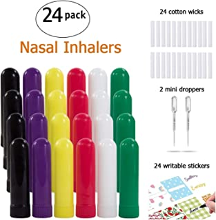 Nasal Inhalers for Essential Oils, Aromatherapy Refillable Blank Plastic Nasal Inhaler Tubes,with 2 Mini droppers 24 Cotton Wicks and 24 Writable Stickers,Color 24 PACK