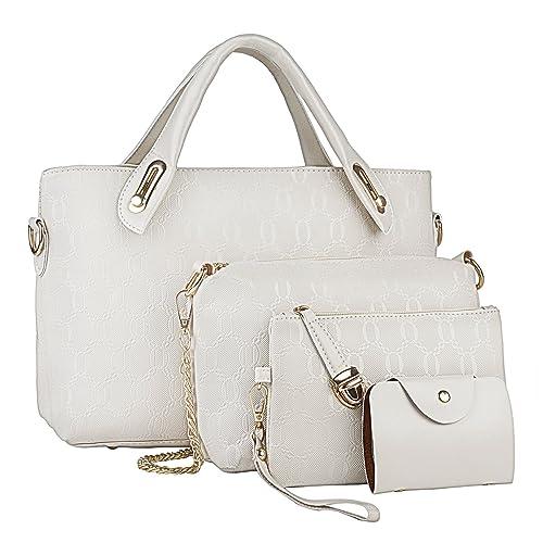 Fashion Women PU Leather Handbag Shoulder Bag Tote Bag Purse Bags 4 Pcs Set 65278c939124e