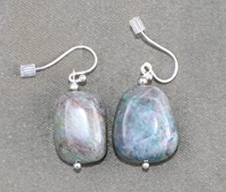 Ajoite and Papagoite Earrings love, healing, emotional support 5207