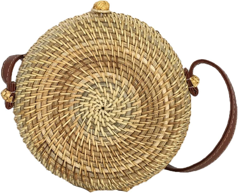 bluee Island Canteen Woven Rattan Straw Circle Crossbody Bag, Natural