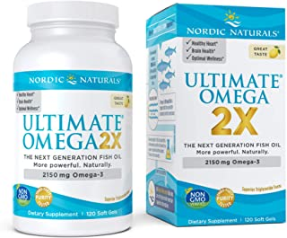 Nordic Naturals Ultimate Omega 2X, Lemon Flavor - 2150 mg Omega-3-120 Soft Gels - High-Potency Omega-3 Fish Oil with EPA &...