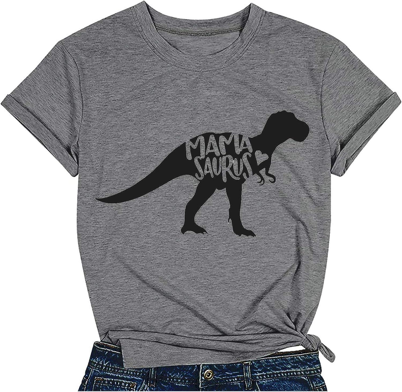 Aukbays Womens Tops Short Sleeve Mama Saurus Sayings Printed Graphic T-Shirts Round Neck Tees Shirts