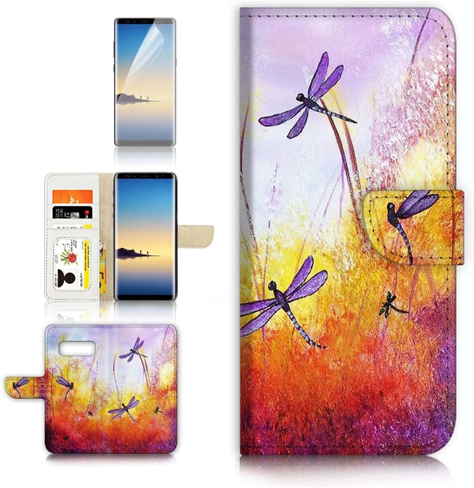 ( For Samsung Note 8 , Galaxy Note 8 ) Flip Wallet Case Cover & Screen Protector Bundle - A21092 Dragonfly