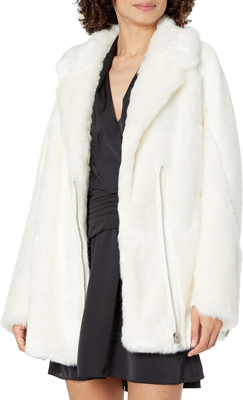 GUESS Women's Long Sleeve Rory Faux Fur Jacket