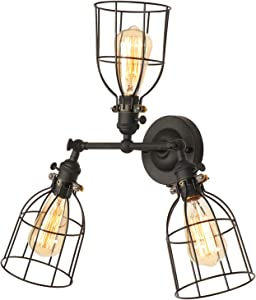 XIDING Premium Edison Metal 3 Light Wire Cage Wall Sconce Light Fixture,Upgrade Black Finish Metal Wire Cage Shade, Unique Vintage Swing Arm Wall Lamp, E26 Base, 3 Light