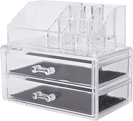 Wonepo 2 Drawer Jewellery And Makeup Organiser, Transparent