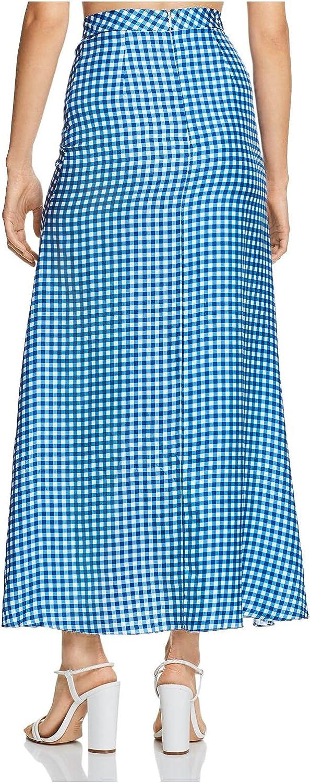 PAPER London Womens Blue Check Maxi Mermaid Skirt Size 4