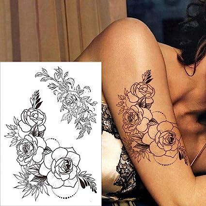 Tzxdbh 3pcs Noir Tatouage Rose Tatouage Impermeable Autocollant Pivoine Fleur Tatouage Crayon Dessin Feuille Tatouage Femme Corps Art 3 Pcs Amazon Fr Cuisine Maison