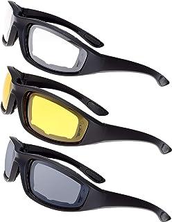 Óculos de motociclismo com armação acolchoada e bloco de lentes 100% UVB para esportes de atividades ao ar livre