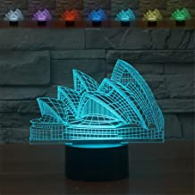 3D Optical Illusion Sydney Opera House Colorful Night Light Touch Switch USB Powered LED Desk Decoration Lamp for Holiday Birthday Cool Gift